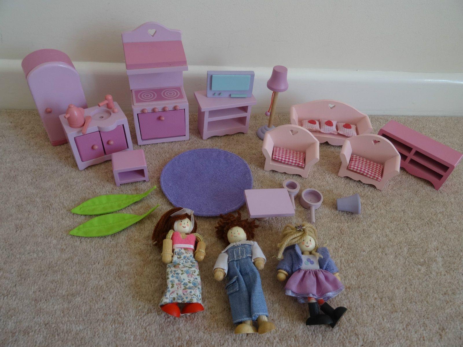 Exceptional Elc Wooden Dolls House Furniture People / Figures Kitchen Living Room  (rosebud) | EBay