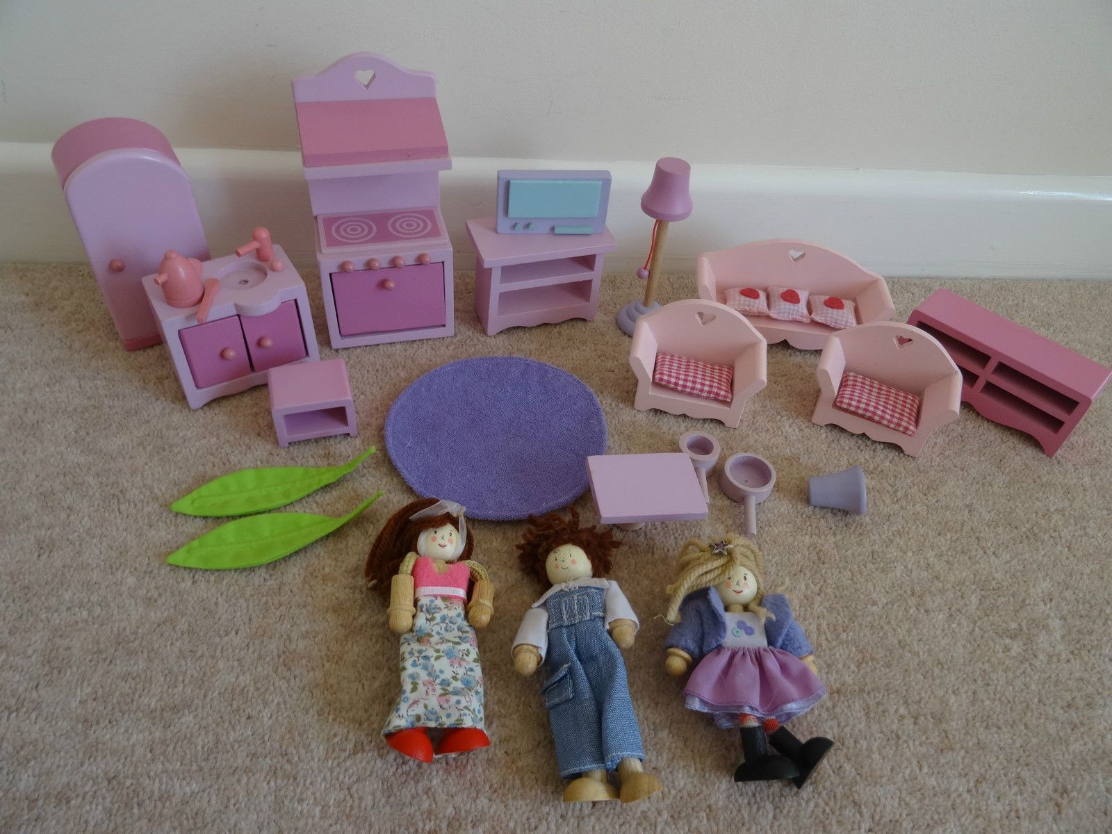 elc wooden dolls house furniture people figures kitchen living