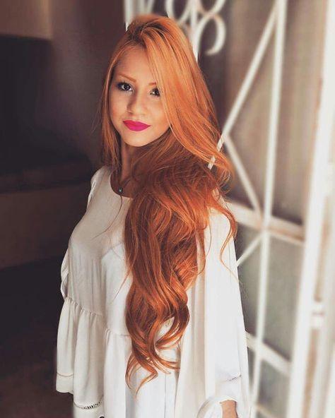 Photo of Wunderschöne lange rote Haare Model Haarfarbe kupfer Inspiration