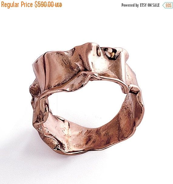 ON SALE CRUMPLED 14k Rose Gold Ring for women Unique Gold Ring