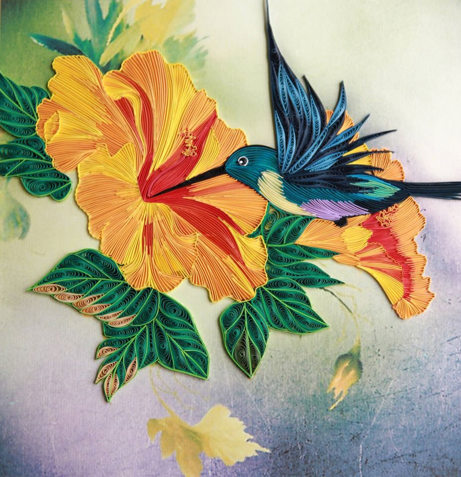 This is a personal artwork done by paper quilling for Paper quilling work