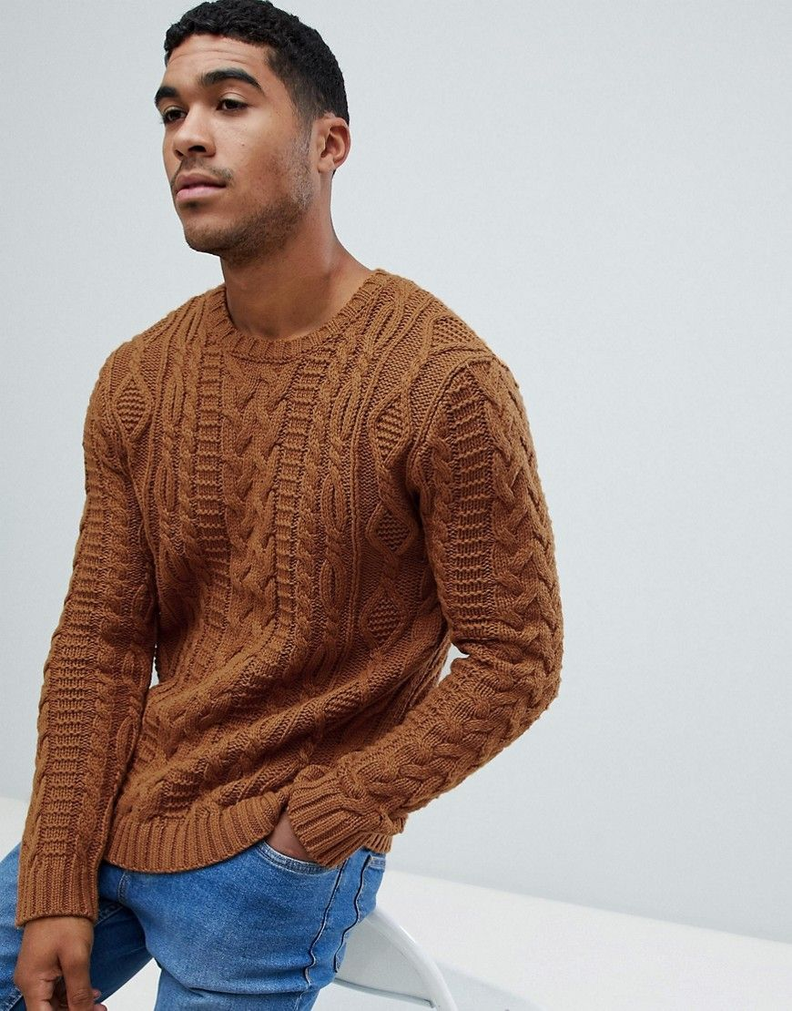Asos Design Heavyweight Cable Knit Sweater In Mustard Yellow Asosdesign Sweaters Asos Designs Cable Knit Sweaters