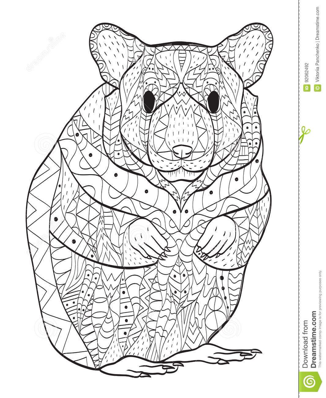 Rodent Hamster Coloring Vector For Adults Stock Vector Illustration Of Black Abstract 92062492 Animal Drawings Hamster Illustration