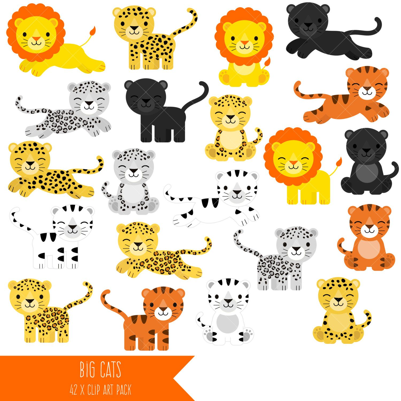 Big Cats Clipart / Lion / Tiger / Leopard / Snow Leopard