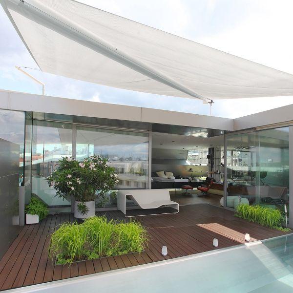 Terrasse Möbliert-Sonnenschutz Sonnensegel aufrollbar manuell - vorteile sonnensegel terrasse
