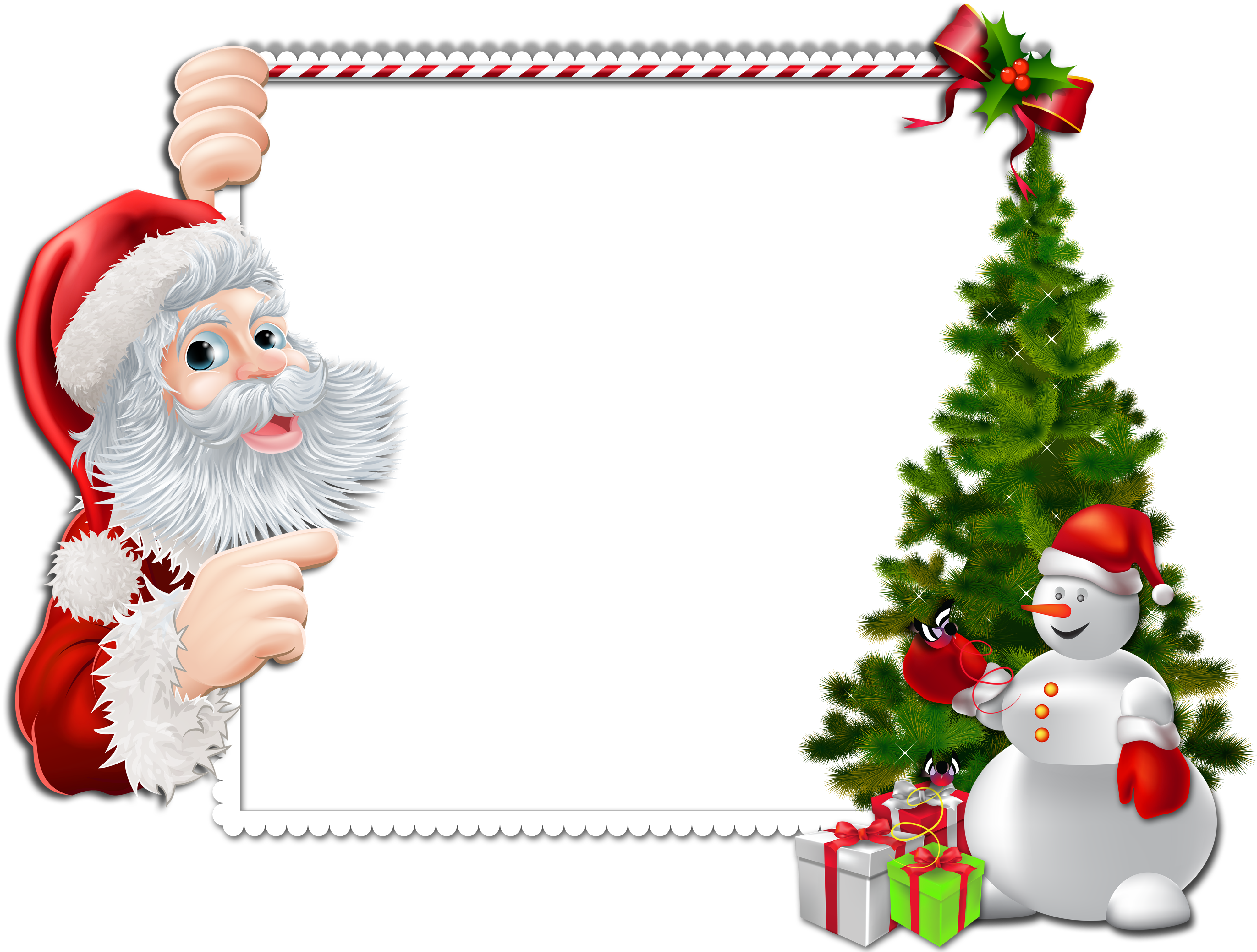 Large Christmas Frame With Santa And Snowman