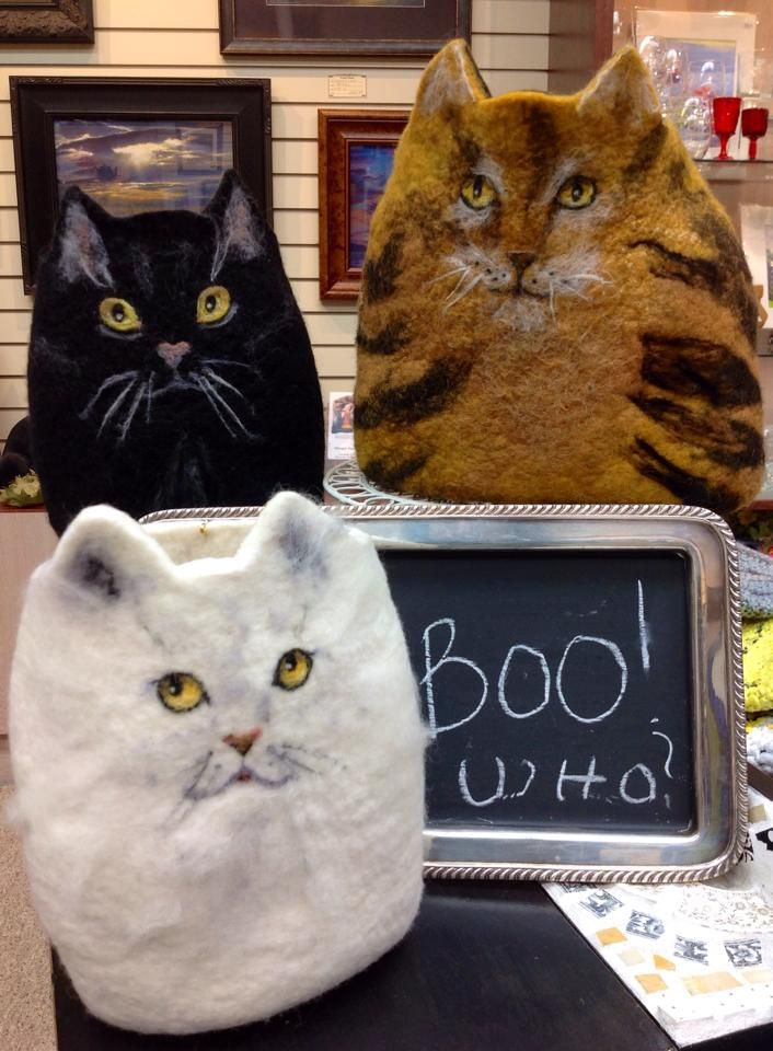 Hand Felted Cat Vessels In Owego Ny Found On Httpswwwfacebook