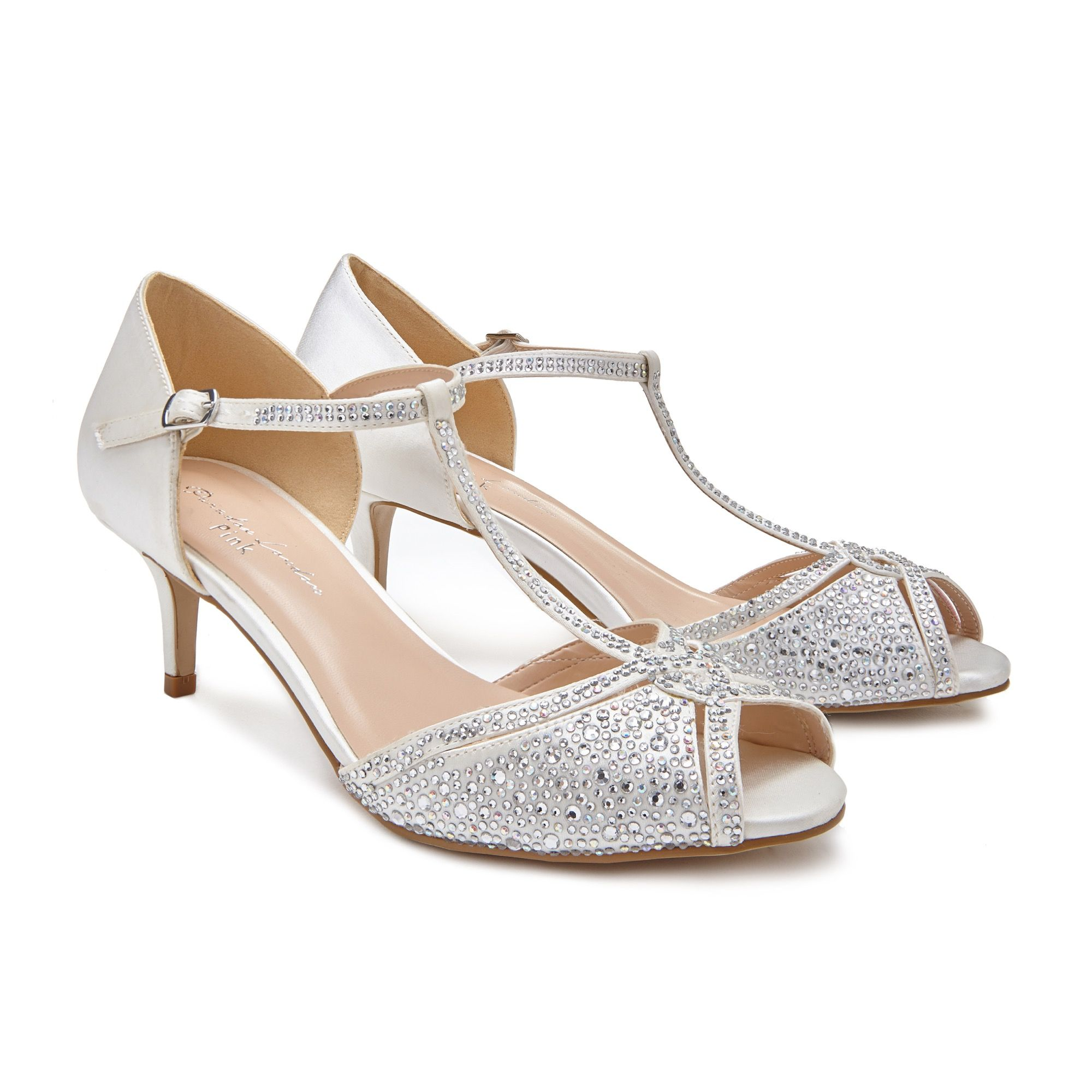 Pink wedding shoes, Low heel sandals