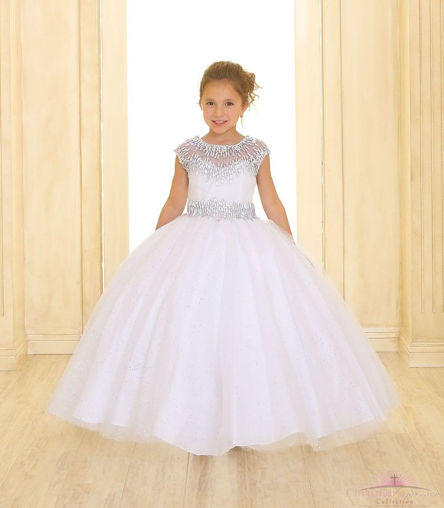 0b0601305 Long Length First Communion Dress Cap Sleeves Silver Accents | First ...