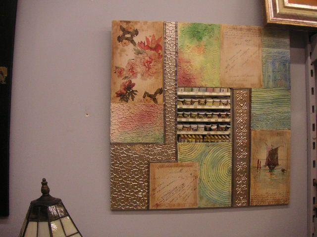 Marco con espejo con texturas y apliaciones metalicas - Cuadros modernos con texturas ...
