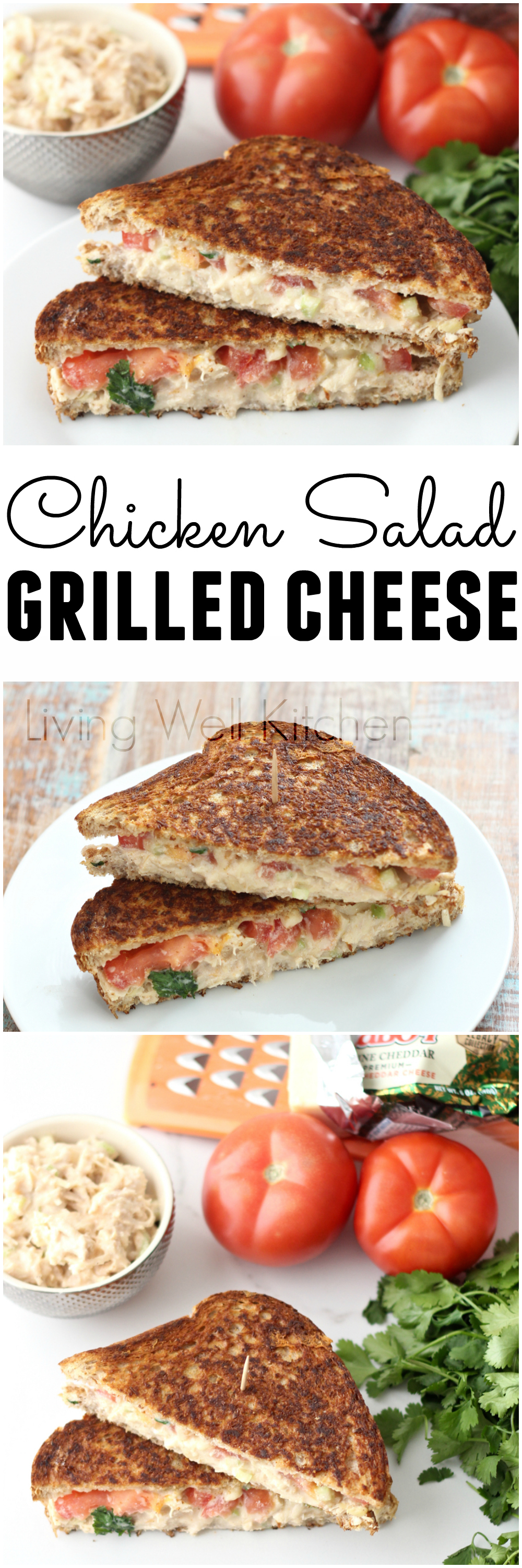 Celebrate Grilled Cheese Month with a Chicken Salad Grilled Cheese from @memeinge. Putting chicken salad on your grilled cheese boosts the protein to keep you satisfied and full for longer, and the tomato slices and parsley add fresh flavor.
