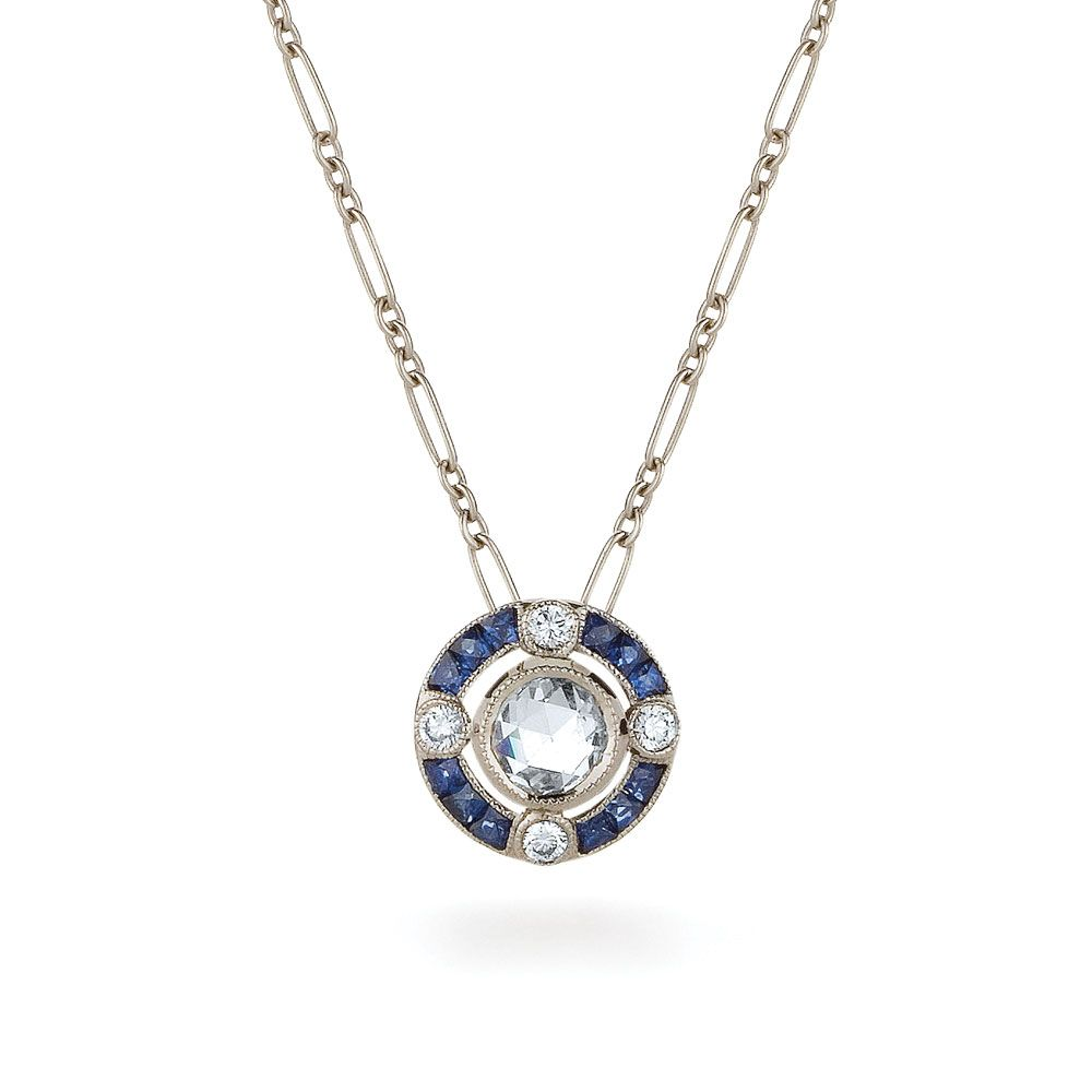 White gold pendant kwiat vintage collection style 28610s diamond blue sapphire and rose cut diamond pendant from the kwiat vintage collection in 18k white gold aloadofball Image collections