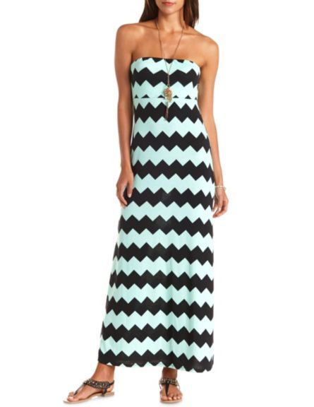 Bow-Back Chevron Print Strapless Maxi Dress: Charlotte Russe