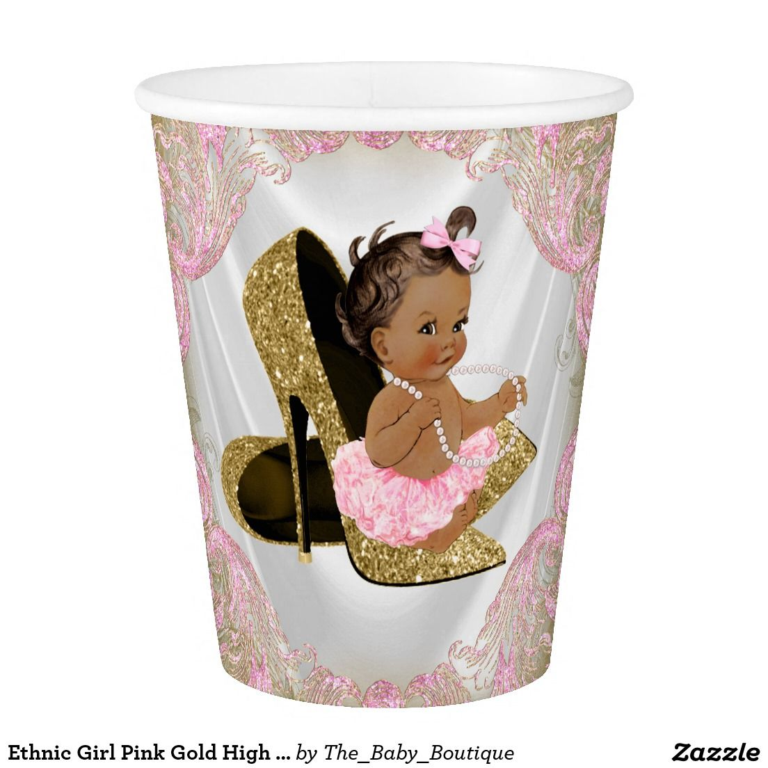 Ethnic Girl Pink Gold High Heel Shoe Baby Shower Paper Cup
