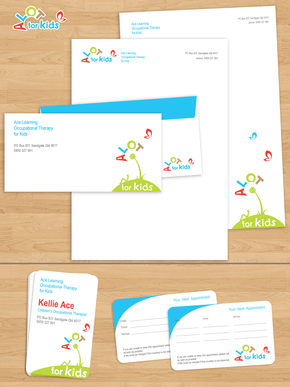 Stationery Design For Ace Learning Occupational Therapy By Mushiya