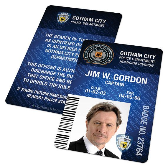 Custom Id Card Badge Gotham Police Dept From Batman By Famousids Cards Stationery Templates Gotham