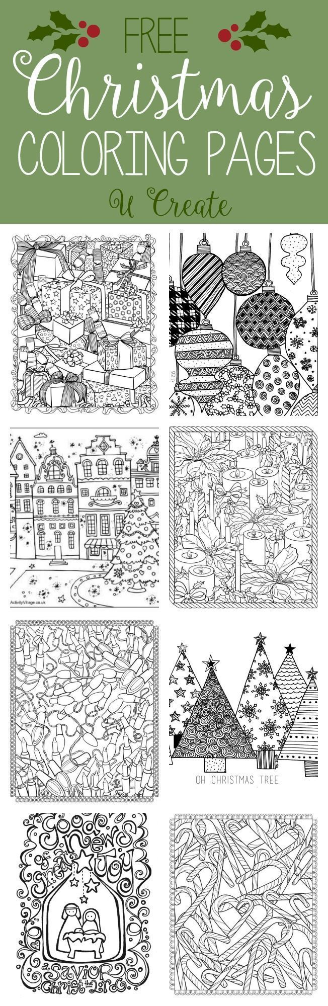 Free Christmas Adult Coloring Pages (U Create) | Weihnachten ...