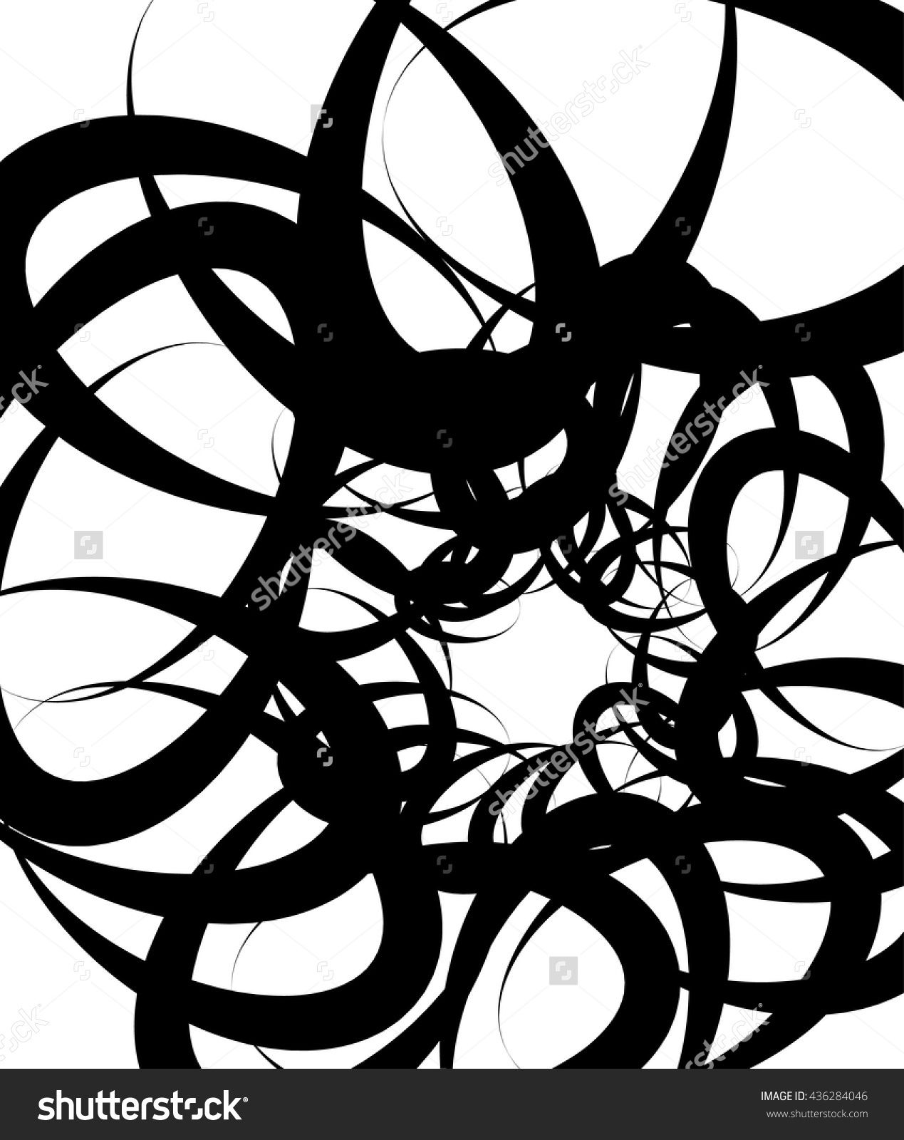 Overlapping tangled shapes. Black and Preview. Save to a