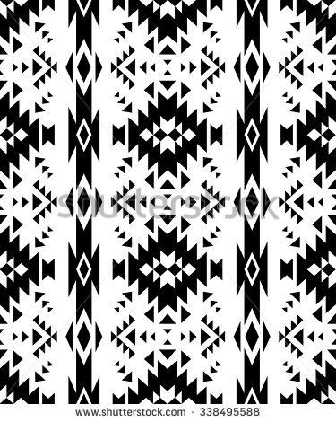 Black And White Tribal Navajo Seamless Pattern Aztec Abstract Geometric Art Print Ethnic Hipster Backdrop Wallpaper Cloth Design Fabric Paper
