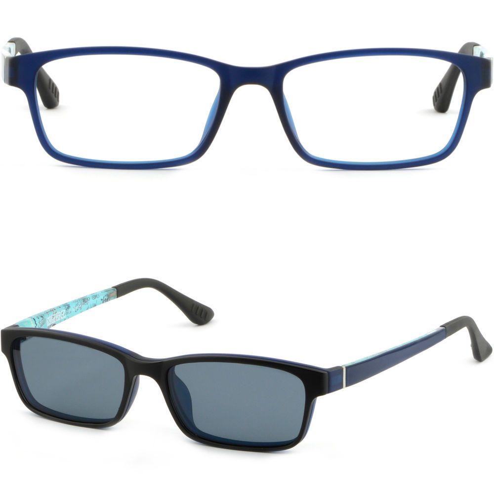 313b1748643b Men Women Magnetic Snap Clip on Frames Prescription Glasses Sunglasses Navy  Blue