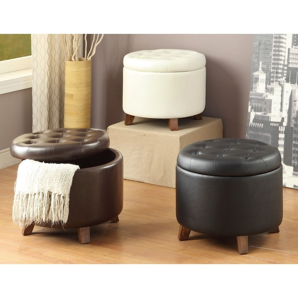 Leather Ottoman with Storage Space (Dark Brown), Size Medium (Faux ...