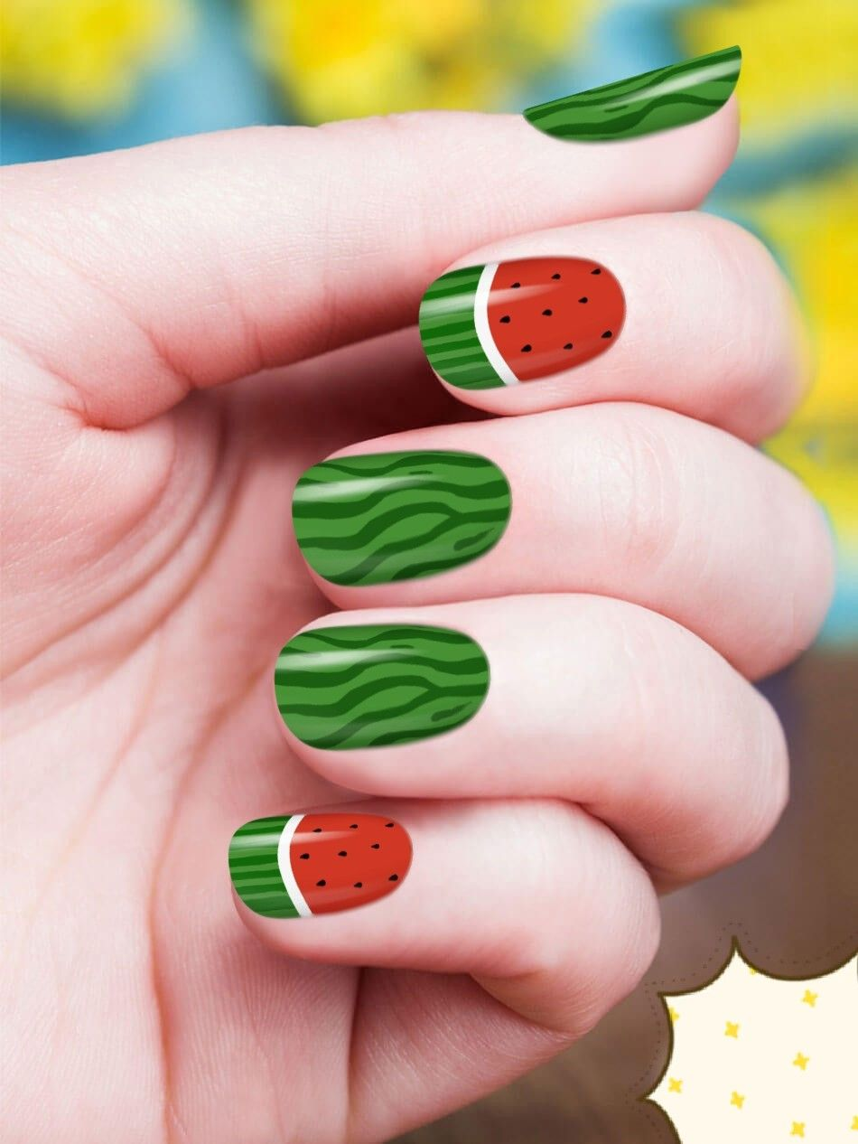 Diy Watermelon Nails No Stickers Or Nail Polish Art Pens Nails