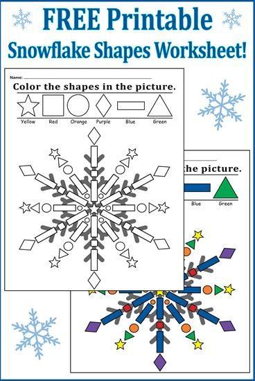 Snowflake Shapes Worksheet Coloring Page Shapes Worksheets Snowflake Shape Preschool Colors Snowflake worksheets for kindergarten