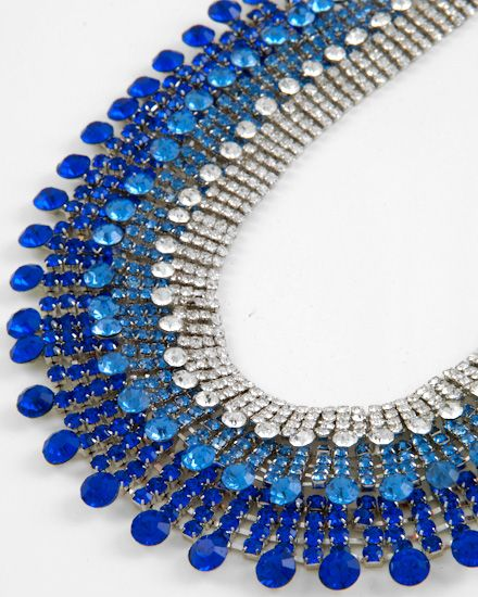 Rhodiumized / Clear & Royal Blue Rhinestone / Necklace & Post Earring Set