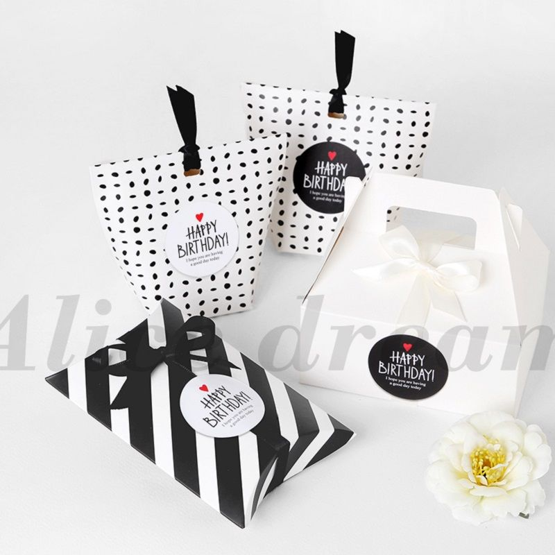 Happy Birthday Sticker 120pcs black white simple fashion Stickers as Food  Tags Labels Gift Tag Home Christmas Decoration d48e2879ee63e