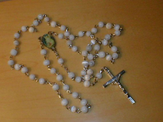 Vintage RARE White Tiger-Eye Rosary by yesteryearglam on Etsy