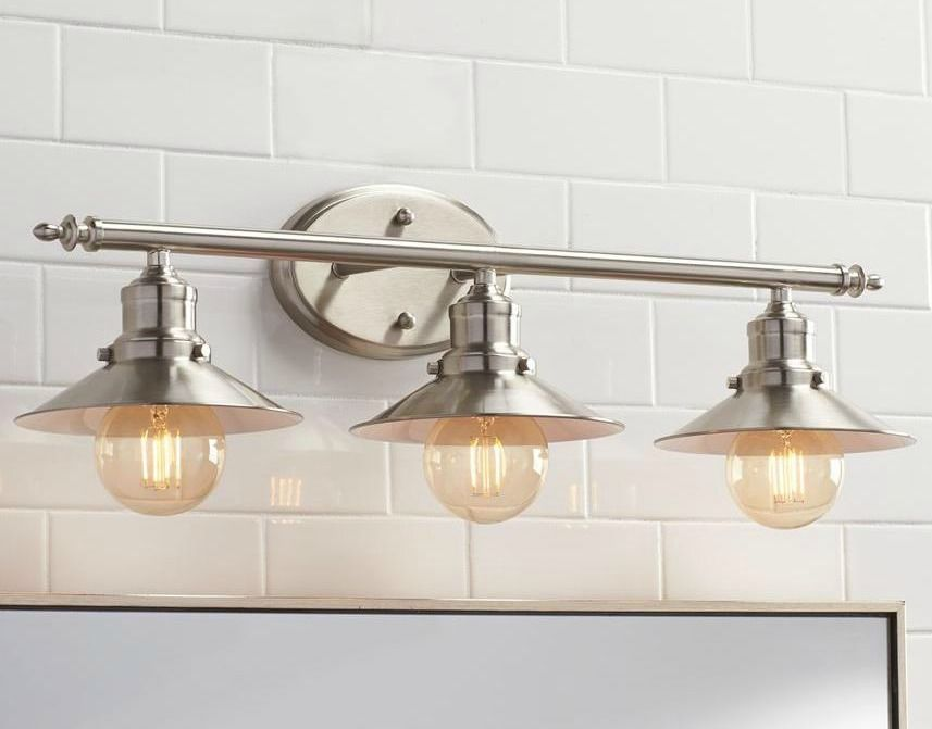 Bathroom Lighting Vanity Fixture Retro Brushed Nickle 3 Light Above Mirror Lamp Bathroom Light Fixtures Bathroom Lights Over Mirror Vanity Lighting