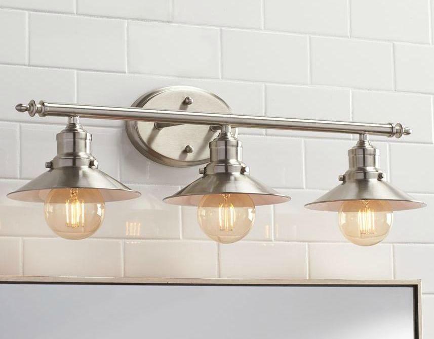 bathroom lighting vanity fixture retro brushed nickle 3 light above mirror lamp