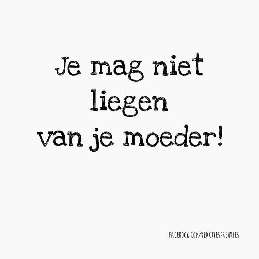 Je mag niet liegen van je moeder! #spreuk #gezegde #nederlands #lol #humor