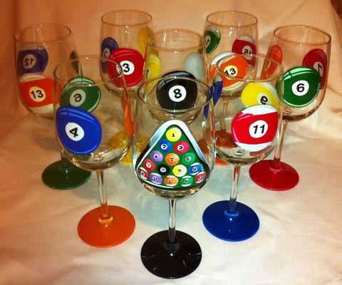 POOL BALL WINE GLASSES Set of 8