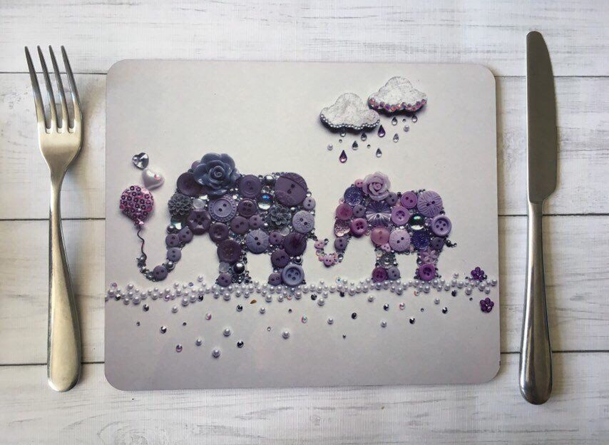 Pair Of Elephant Placemats Pair Of Placemats Elephant Etsy Elephant Table Elephant Theme Button Art
