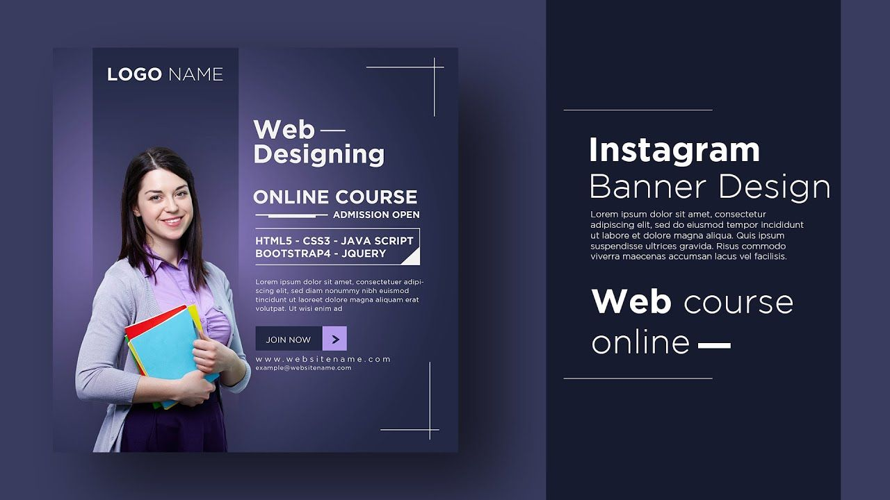 Web Designing Course Banner Create Post For Instagram Ads In Adobe Illus In 2020 Instagram Ads Design Web Design Course Instagram Ads
