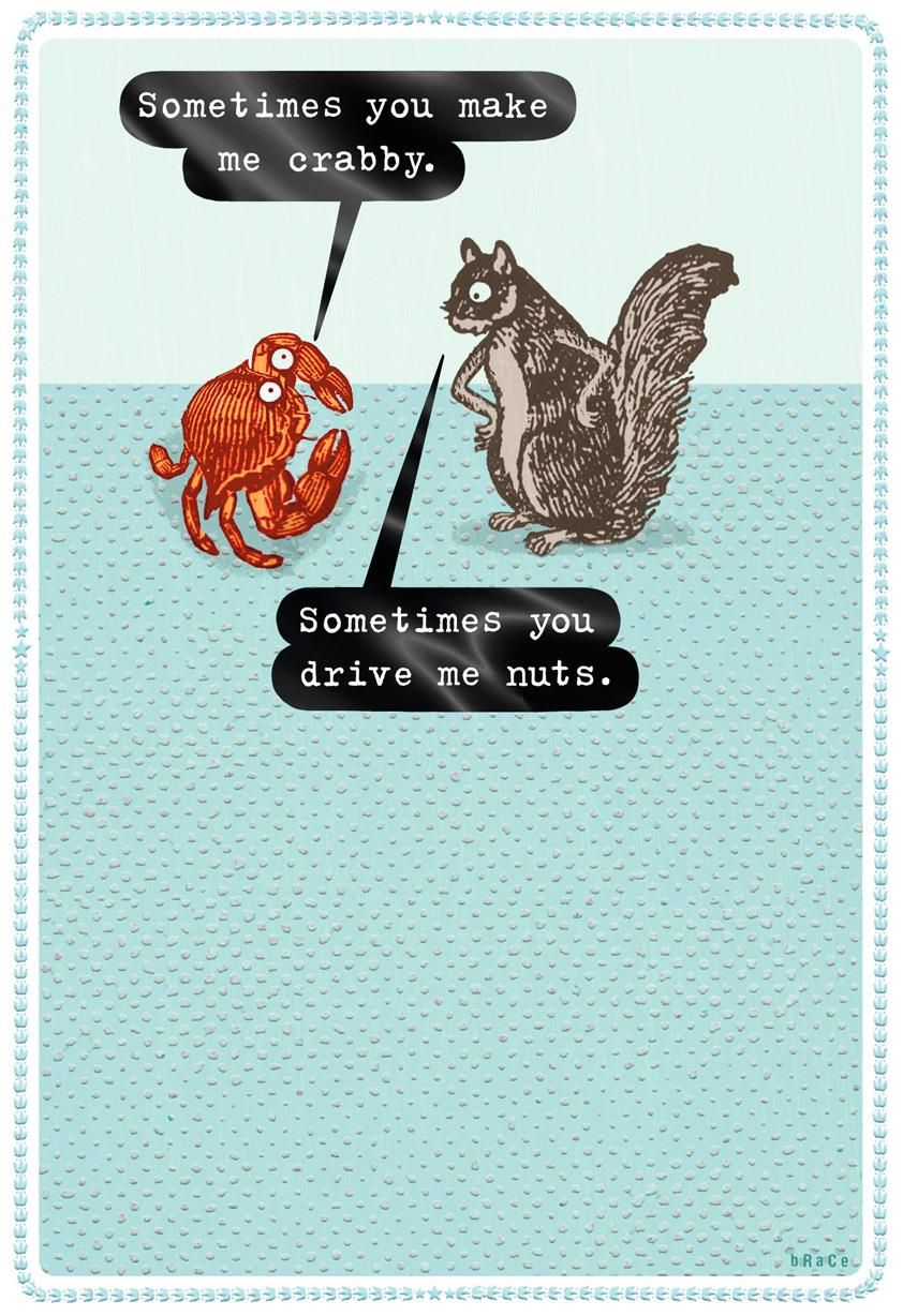 crabby and nuts funny love card  funny love cards