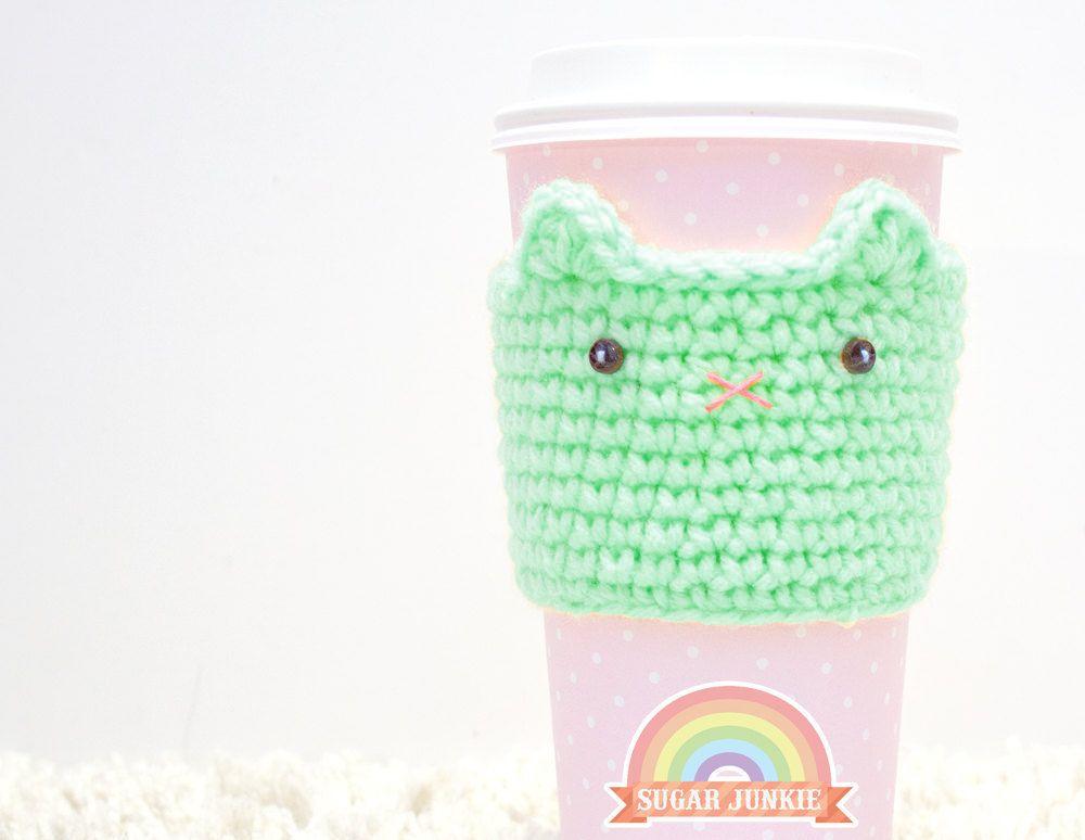 Crochet Cat Coffee Cozy | Crochet | Pinterest | Utiles y Tejido