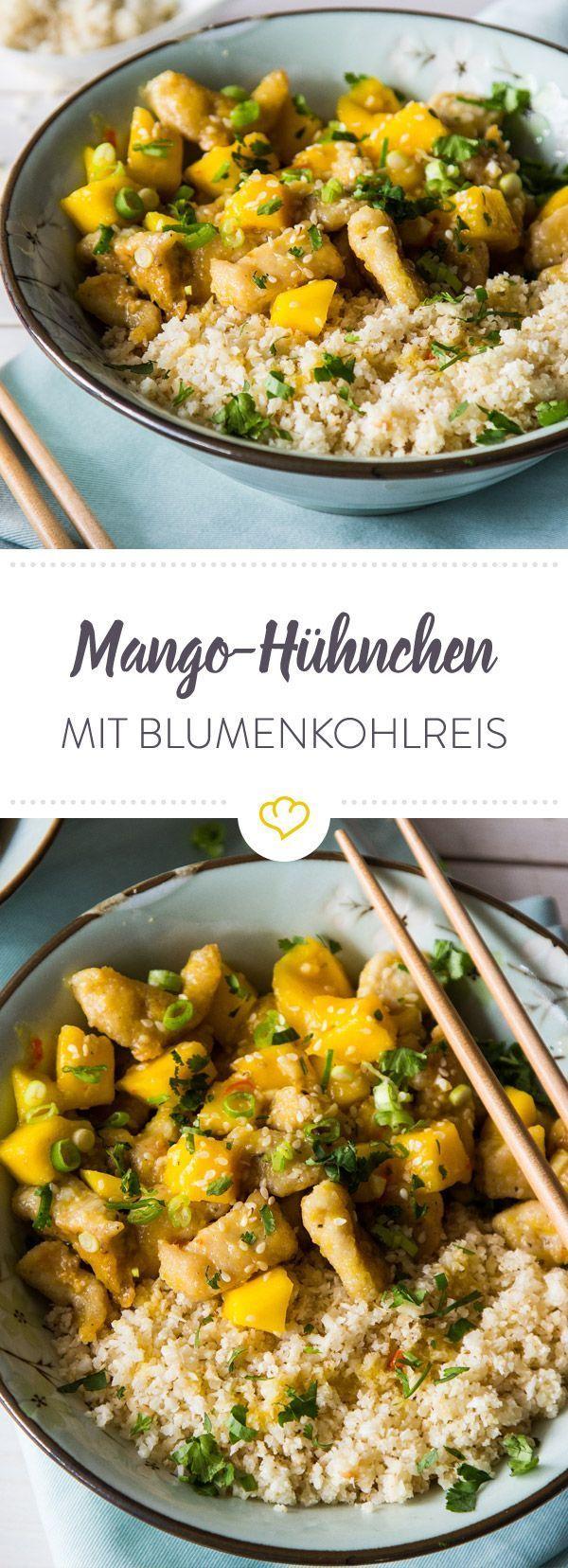 Schnelles Mango-Hühnchen mit Blumenkohl-Kokos-Reis
