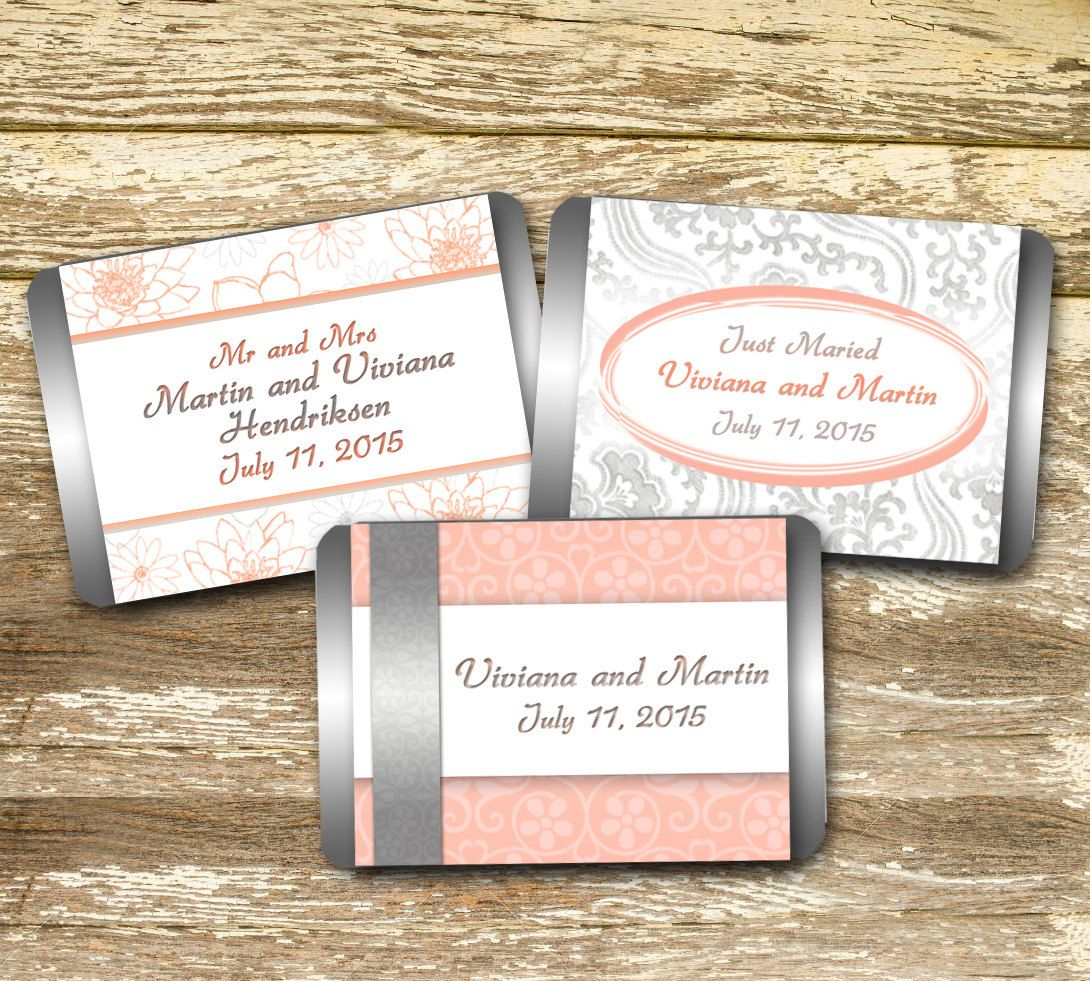 Mini Candy Bar Wrapper - Wedding favour, Wedding shower, Coral and ...