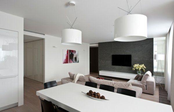 salle à manger et salon moderne en blanc, noir et gris | Raznoje ...