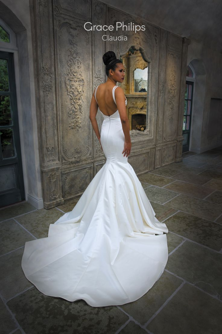 A Satin Fit N Flare Fishtail Wedding Dress With Wrap Over Straps To Sculpt The Body And A Two Metre Wedding Dresses Wedding Dresses Lace Mermaid Wedding Dress [ 1104 x 736 Pixel ]