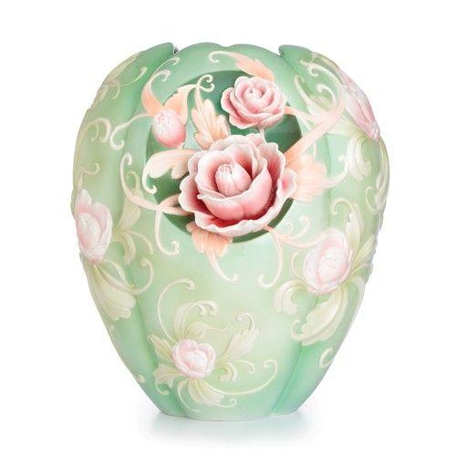 Franz Porcelain Collection Pink Camellia Design Sculptured Porcelain