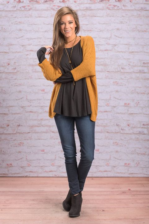 """""""Warm By Your Side Cardigan, Mustard"""" This cardi will keep you both warm and adorable! The mustard yellow color is perfect the season! It will look great with all the changing leaves!  #newarrivals #shopthemint"""