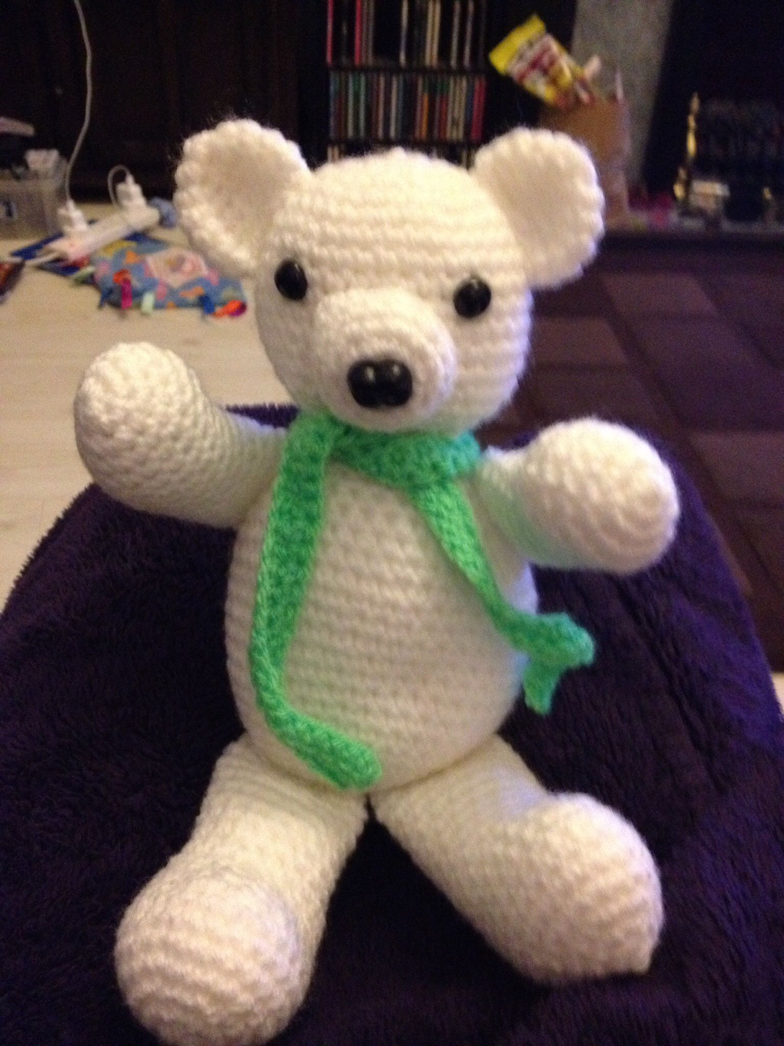 This poor little bear has been missing an arm for weeks, but I finally found it