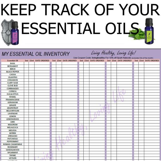 Printable Essential Oil Charts  My Essential Oil Inventory List