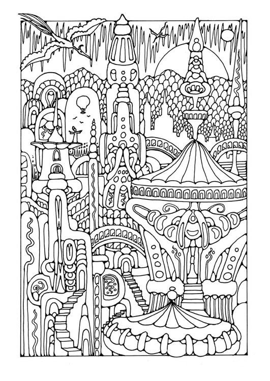 Coloring page fairy tale city - coloring picture fairy tale city. Free coloring sheets to print and download. Images for schools and education - teaching materials. Img 25613.
