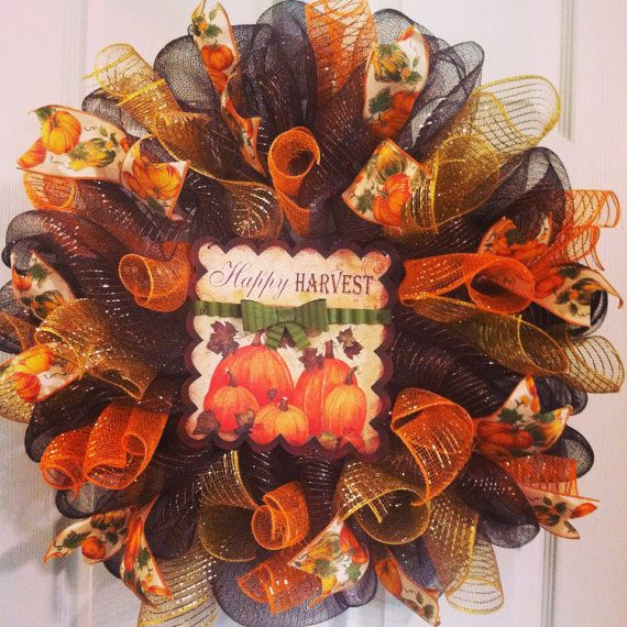 thanksgiving wreath fall wreath pumpkin by wreaths4u2bypaula