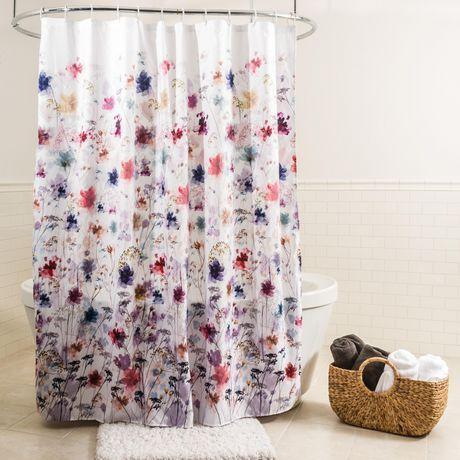 Splash Home Polyester Fabric Shower Curtain Multi Colors Multi