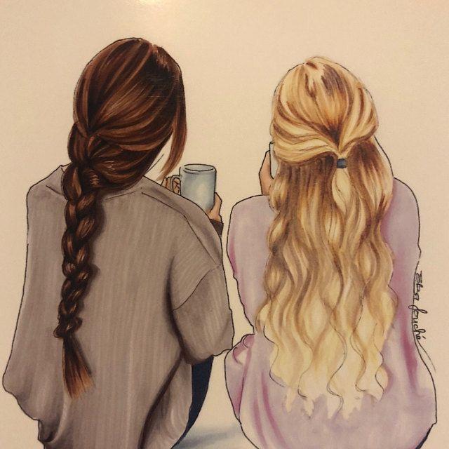 4 meilleures amies – meilleurs amis – bestie – soeur – meilleur ami cadeau – dessin de mode – meilleur ami art – amitié estampe – art ami (e)